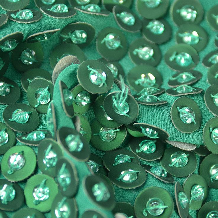 Green Circle Sequins Silk Georgette