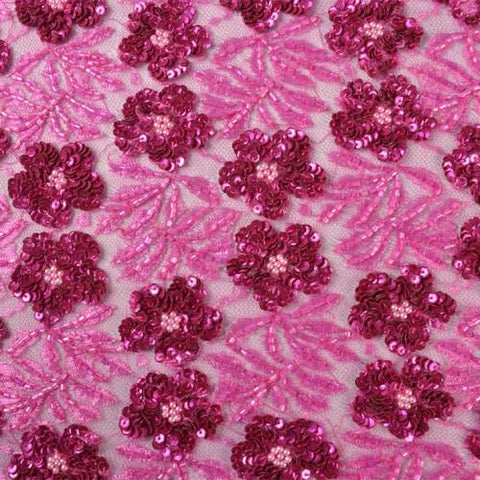 Hexagonal Hand-beaded Floral Bridal Lace Fabric