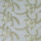 Gold and White Floral Design Lace Fabric