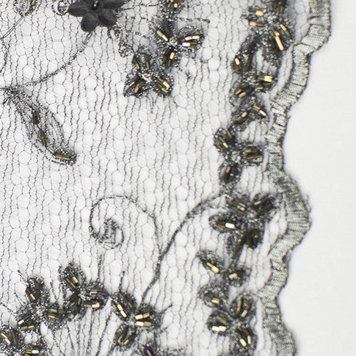 Beaded Floral Pattern with Swirly Stems Lace Fabric
