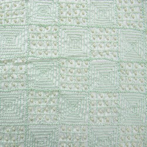 Checkered and Beaded Square Pattern Silk Shantung Hand-beaded