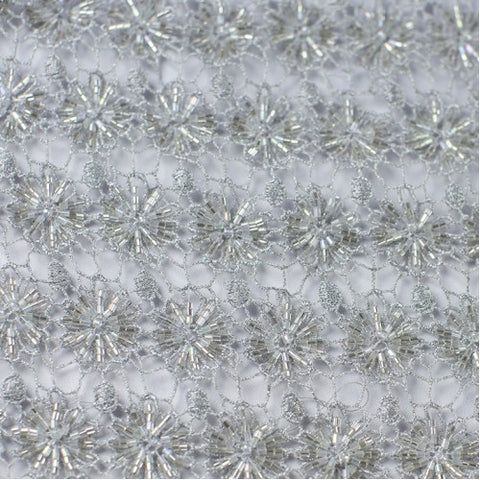 Silver Floral Design with Clear Beads Lace Fabric