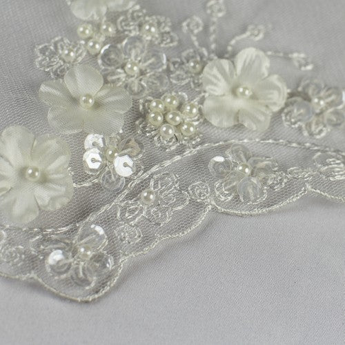 White Floral with Pearls and Sequins Lace Fabric