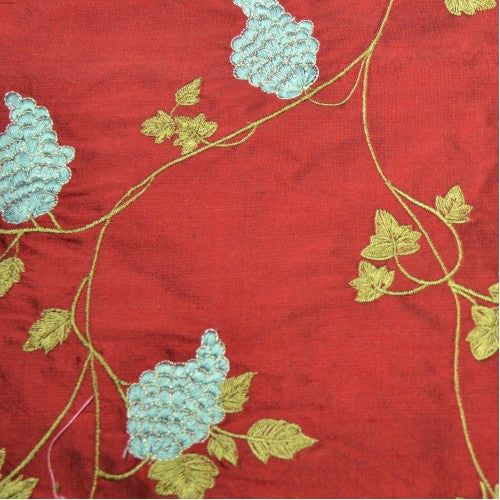 Grapes on the Vine Silk Shantung Embroidery