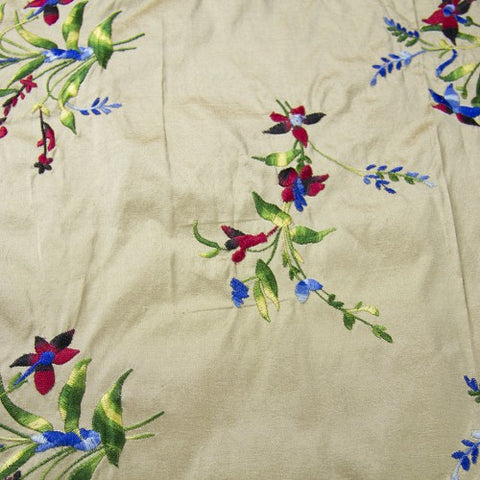 Multicolor Floral Pattern Silk Shantung Embroidery