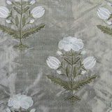 Symmetrical Flowers Silk Shantung Embroidery