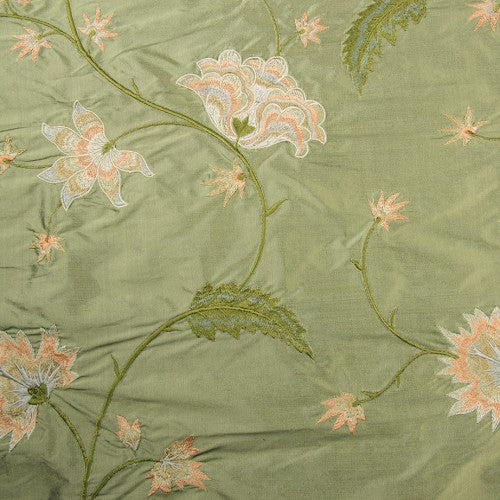 Pointy and Swirly Abstract Flowers Silk Shantung Embroidery