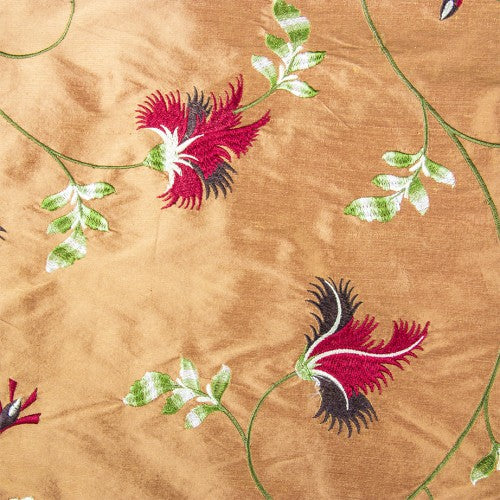 Feathery Flower Design Silk Shantung Embroidery