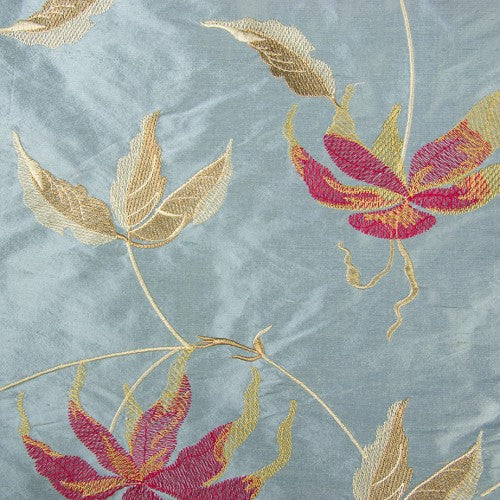 Fuchsia and Old Gold Floral Pattern on Light Blue Silk Shantung Embroidery