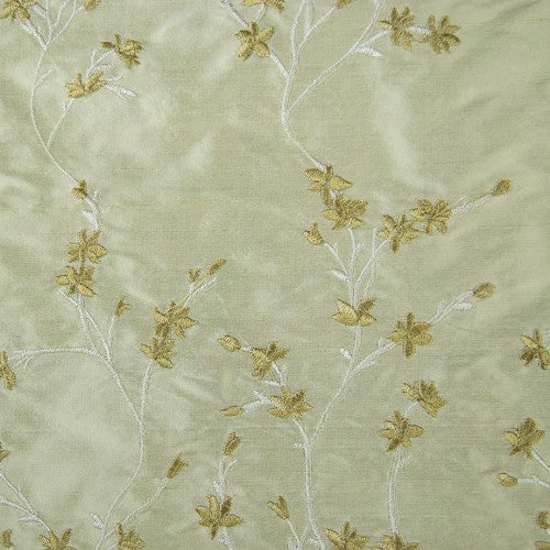 Small Floral Pattern Silk Shantung Embroidery
