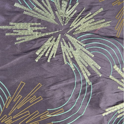 Abstract Lined Flowers with Lined Half-circles Silk Shantung Embroidery