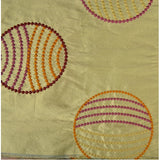 Dotted Circles with Lines Silk Shantung Embroidery