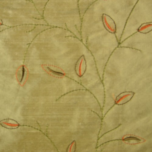 Thin Dotted Leaves and Stems Silk Shantung Embroidery