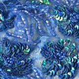 Hand-beaded Floral Design with Blue Green Sequins Bridal Lace Fabric