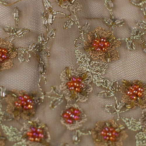 Beaded Flowers Lace Fabric