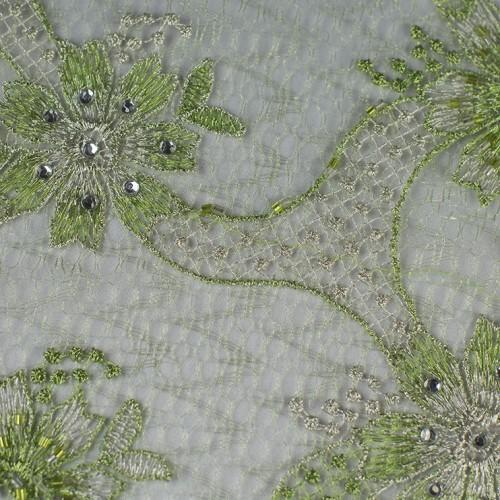 Floral Pattern with Gold and Silver Mirrors Lace Fabric