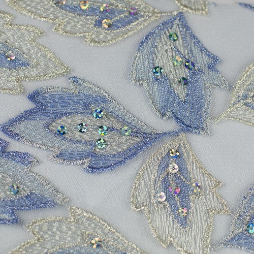 Leaf Pattern with Sequins Lace Fabric