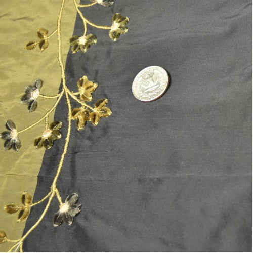 Velvet Flower Silk Shantung Embroidery