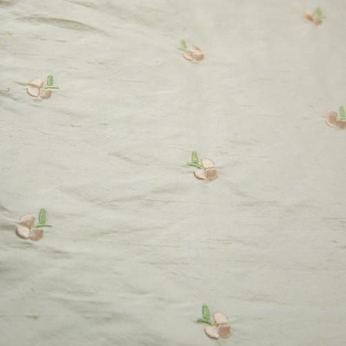Small Simple Flowers Silk Shantung Embroidery