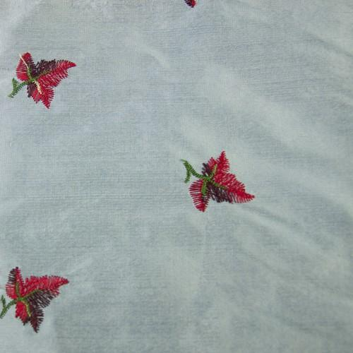 Simple Red Flower Design Silk Shantung Embroidery
