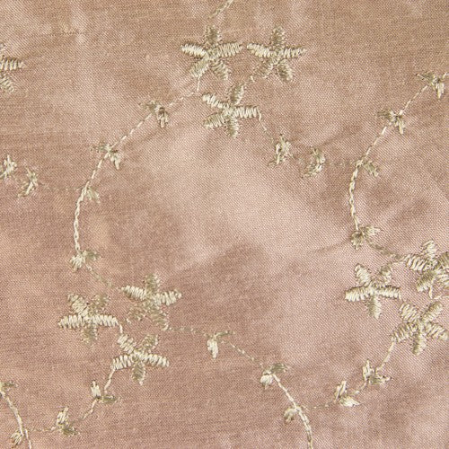 Self-Color Floral Pattern Silk Shantung Embroidery