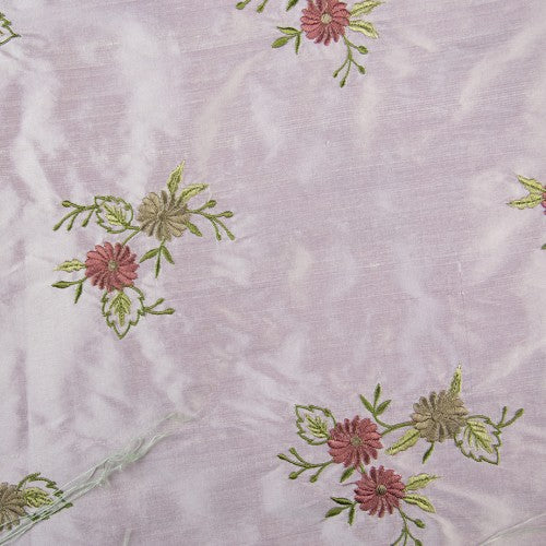 Flower Patches Silk Shantung Embroidery