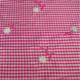 Gingham with Flowers Silk Shantung Embroidery