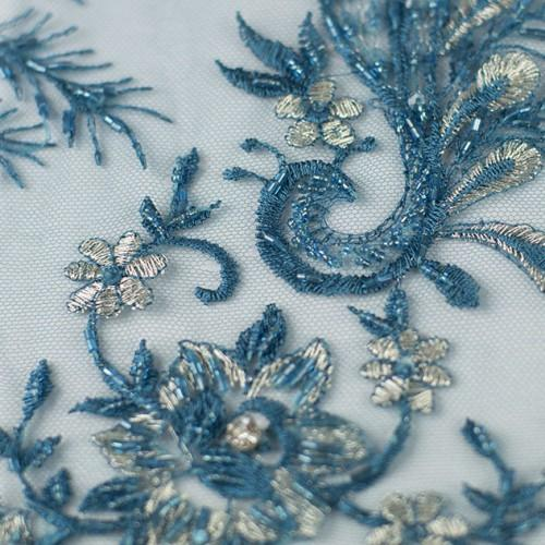 Swirly Beaded Floral Pattern Lace Fabric