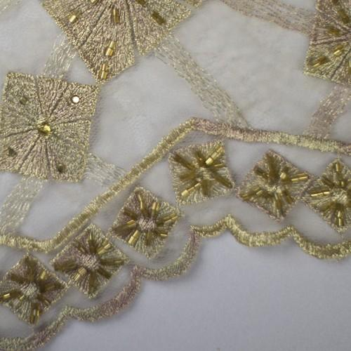Embroidered Box Pattern Lace Fabric