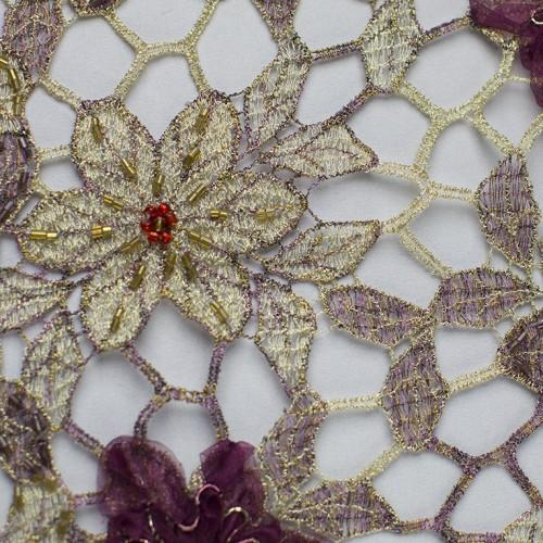 Floral Hexagonal Pattern with Sequins Lace Fabric