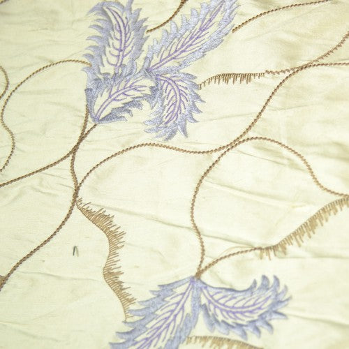Thin Leaf and Curvy Line Design Silk Shantung Embroidery