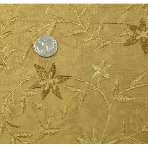 Pointy Flower Design Silk Shantung Embroidery