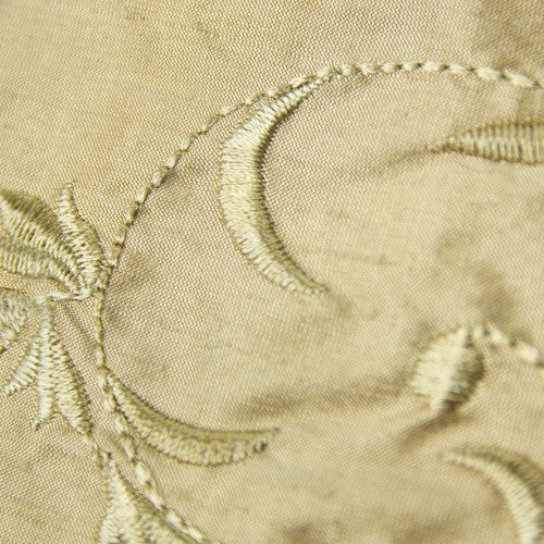 Floral Swirl Pattern Silk Shantung Embroidery