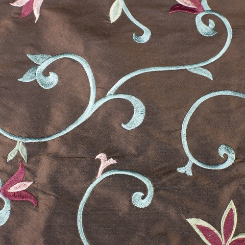 Thick Swirly Vines with Sharp Tulips Silk Shantung Embroidery