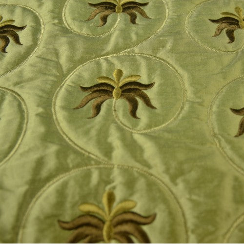 Floral Quilted Circle Loop Design Silk Shantung Embroidery