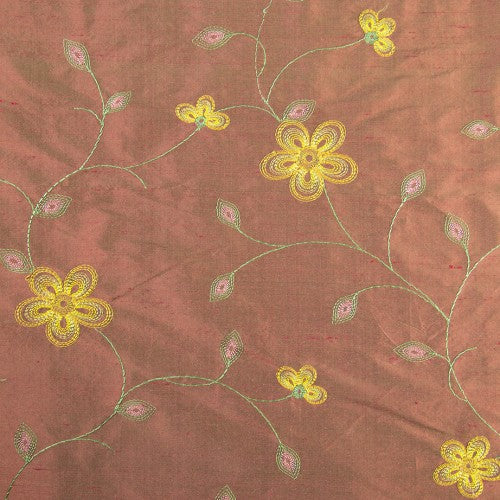 Flowers with Connected Stems Silk Shantung Embroidery