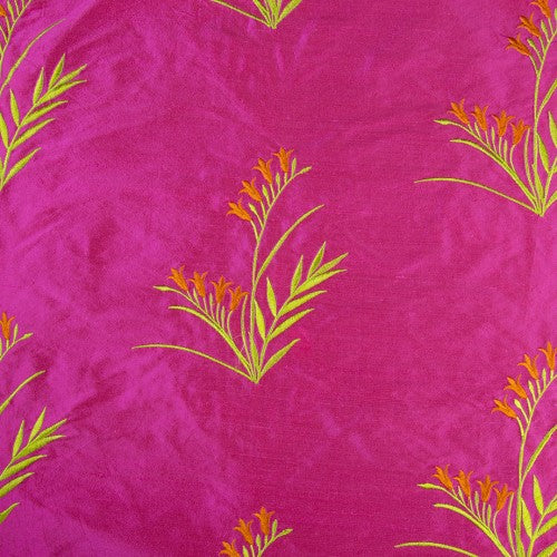 Ferns with Petals Silk Shantung Embroidery