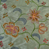 Multi-color Floral Pattern with Small Flowers Silk Shantung Embroidery