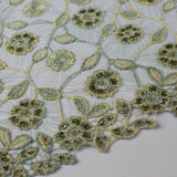Floral Beaded Thread Design Lace Fabric