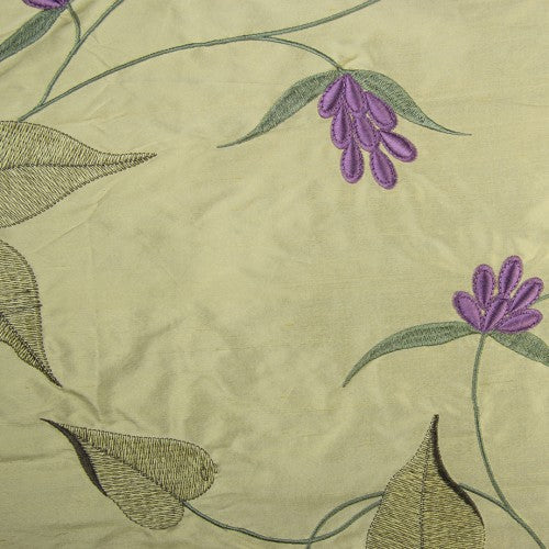 Grape-Shaped Flowers and Heart-Shaped Leaves Silk Shantung Embroidery