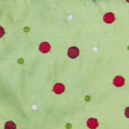 Small and Large Polka Dot Pattern Silk Shantung Embroidery