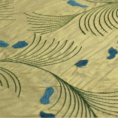 Fern with Abstract Shapes Silk Shantung Embroidery