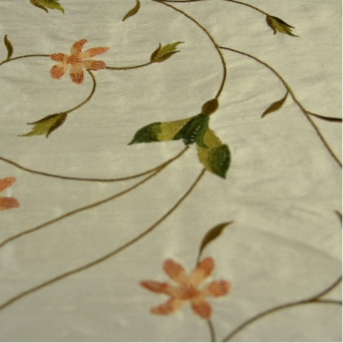 Floral Pattern with Curved Stems Silk Shantung Embroidery