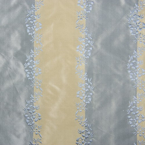 Solid and Floral Stripes Silk Taffeta with Jacquard