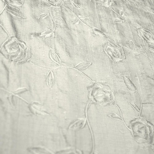 Self-Color Roses Silk Shantung Embroidery