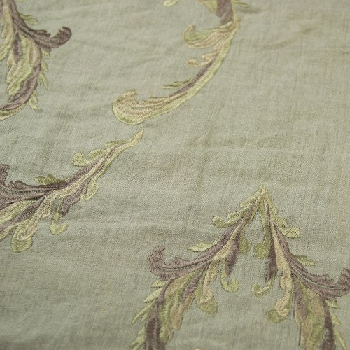 Swirly Leaf Irish Linen Embroidery