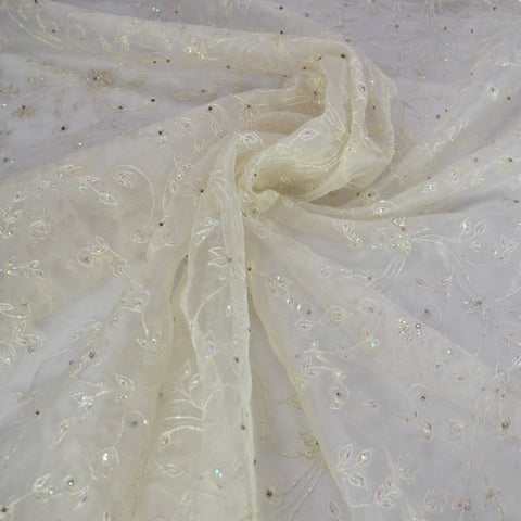White Beading and Multi-colored Sequins Floral Design Silk Organza Embroidery