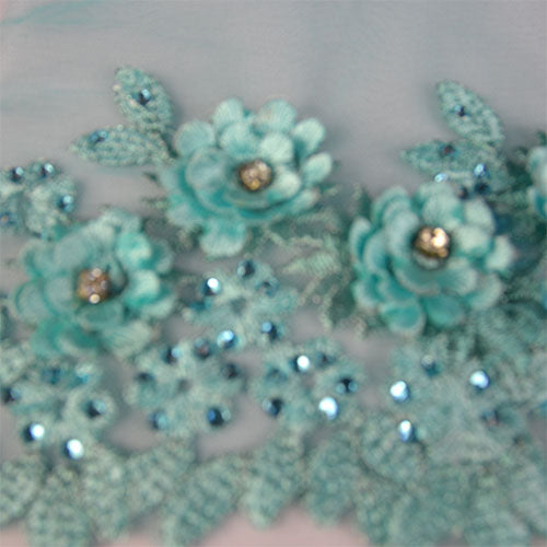 Tulle Lace with Floral Embroidery and Stones Lace Fabric