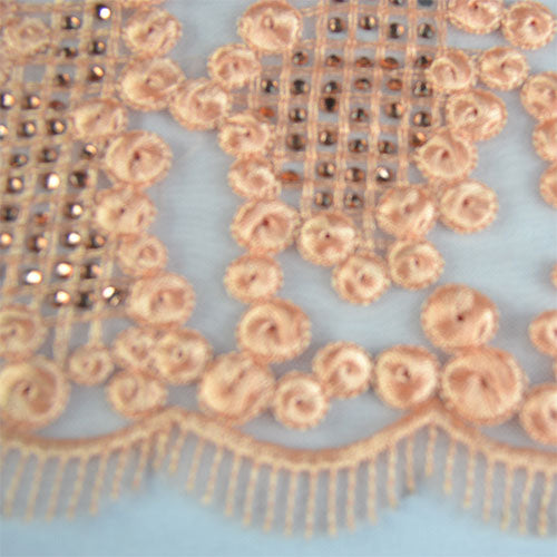 Tulle Lace with Dot Embroidery and Stones Lace Fabric