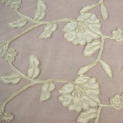 White Floral Pattern with Gold Accents Lace Fabric